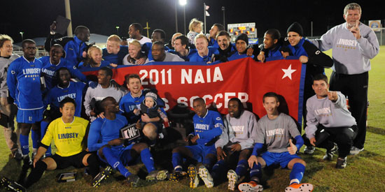 Men's soccer celebrates their ninth NAIA National Championship.
