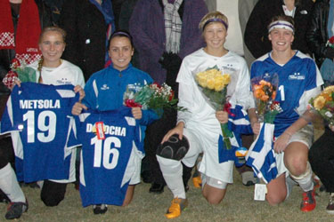 Lindsey Wilson College women's soccer seniors played thier final regular season home game tonight.