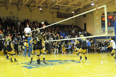 A near capacity crowd was on hand in Biggers Sports Center on Thursday night for volleyball.