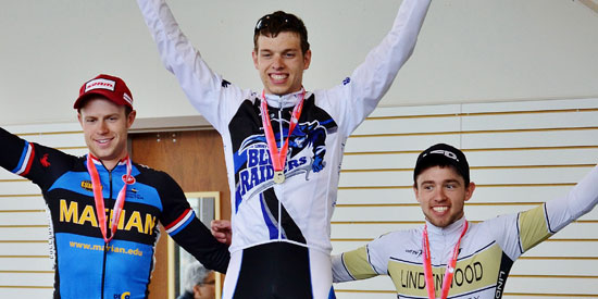 David Novak takes the top spot on the podium after winning the criterium at Notre Dame.