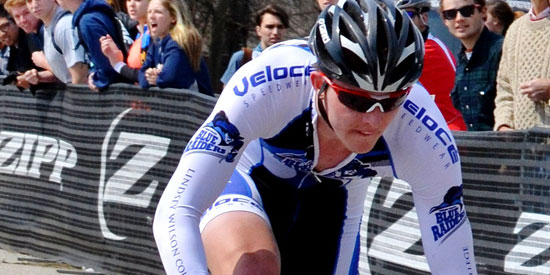 Chris Tveter finished ninth in the men's A road race at Marian.
