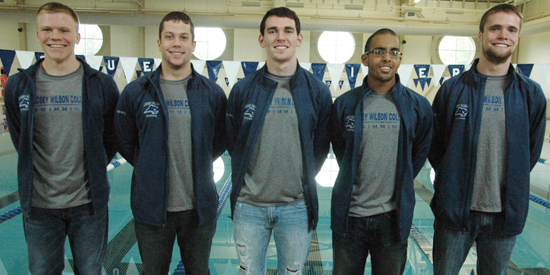 Corey Hall paced men's swimming on Saturday night, finishing ninth in the 200-yard butterfly.
