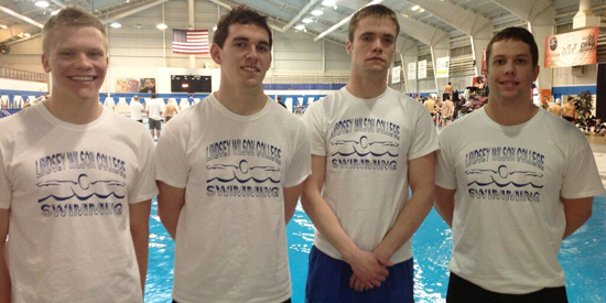 Relay members (L-R): Shelby Stevenson, Luke Royal, Jonathan Hindman and Corey Hall prior to their races on Thursday.