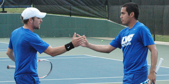 Marlon Dal Pont (left) and Fabricio Morales won the lone LWC point in doubles today.