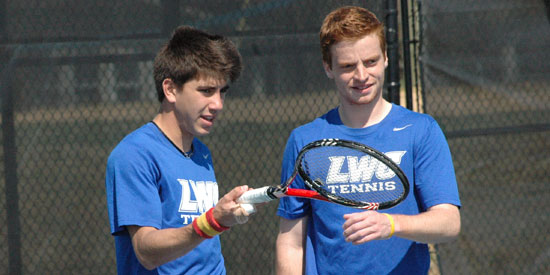 Pablo Vilches (left) and Gilles Cornelis won their doubles match today in a 7-0 win over Concordia.