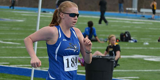 Reini Brickson won the 5,000-meter race walk today for the Blue Raiders' only win.