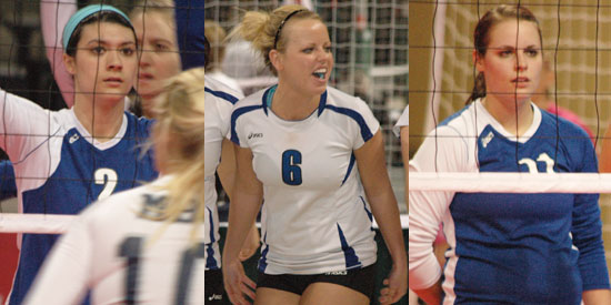 Emily Meeks, left, Angela Mlachnik, center, and Andrea Taylor are NAIA Volleyball Scholar-Athletes.