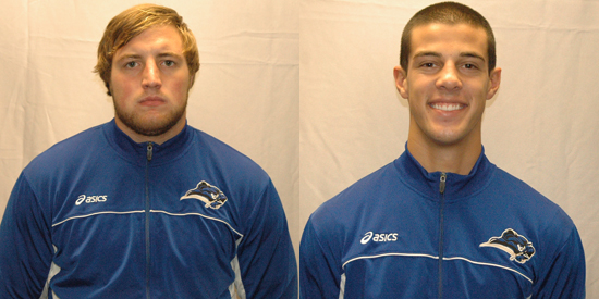 Jacob Bradford, left, and Josh Johnson are 2013 Daktronics-NAIA Wrestling Scholar-Athletes.