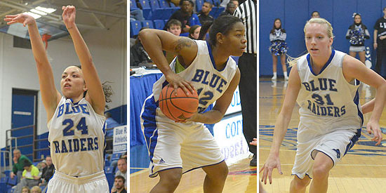 (L to R): Bre Elder, Chanel Roberts and Jamie Cummings led the Blue Raiders to a 19-12 record in 2013-14