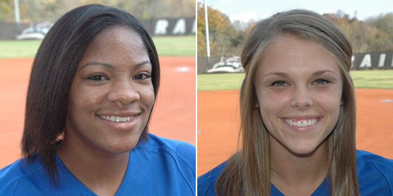 Travatia Bowden (left) and Andrea Whelan earns 2014 Daktronics-NAIA Softball Scholar-Athlete honors
