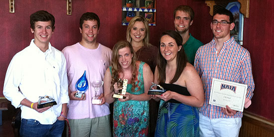From L to R: Hayden Pendergraft, Corey Hall, Laura Stephenson, Kelsey Marshall, Paige Lewis, Jonathan Hindman and Luke Royal