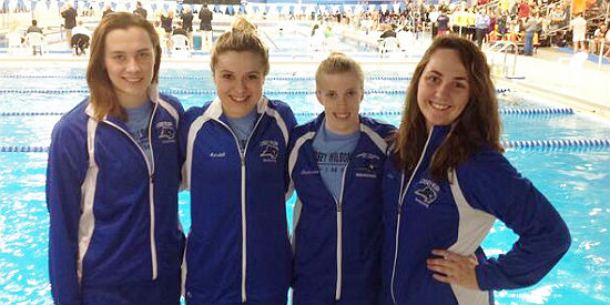 Elena Nikolaeva (Left), Kelsey Marshall, Laura Stephenson and Paige Lewis 400 yard freestyle and medley relay team