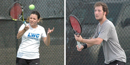 Jessica King (left) and Ignacio Huertas compete at NAIA/ITA Southeast Regional