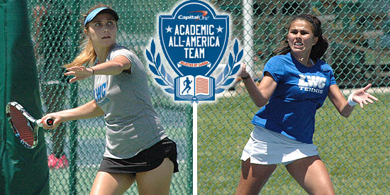 Anna Gaprindashvili (left) and Alejandra Galvis were named to the Capital One Academic All-District 2 At-Large Team