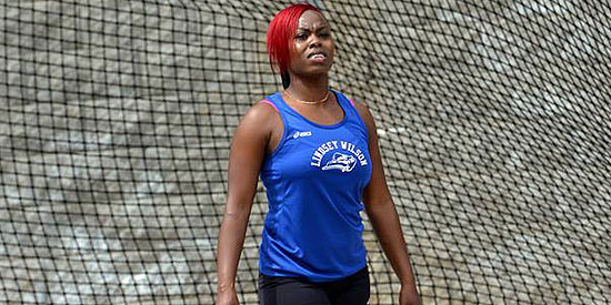 Kerry Ann Walker won the discus throw event and broke a school record in the process