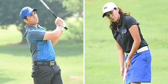 Federico Navarro (left) and Kayla Cordeiro (right) prepare for the Bill Sergent Invitational
