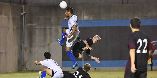Billal Qsiyer heads in the second goal in the 4-1 win for Lindsey Wilson