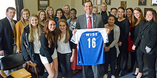 The LWC women's soccer team poses for a photo with Kentucky State Senator Max Wise