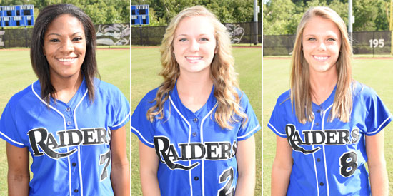 Travatia Bowden (L-R), Brittany Graves and Andrea Whelan earned the national honor