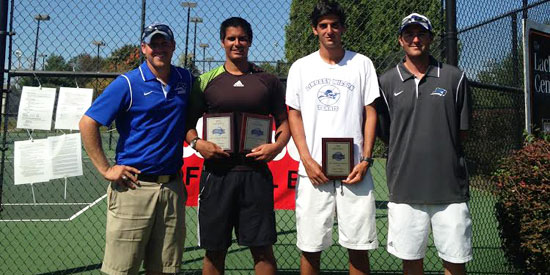 Edberg Espinoza (second from left) and Francisco Charters (third from left) captured ITA regional titles today