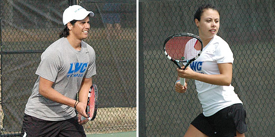 Edberg Espinoza (left) and Alicia Rodriguez advanced to the semifinals of singles play on Thursday