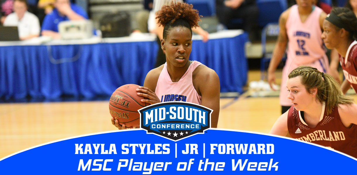 Photo for Styles named MSC Women's Basketball Player of the Week