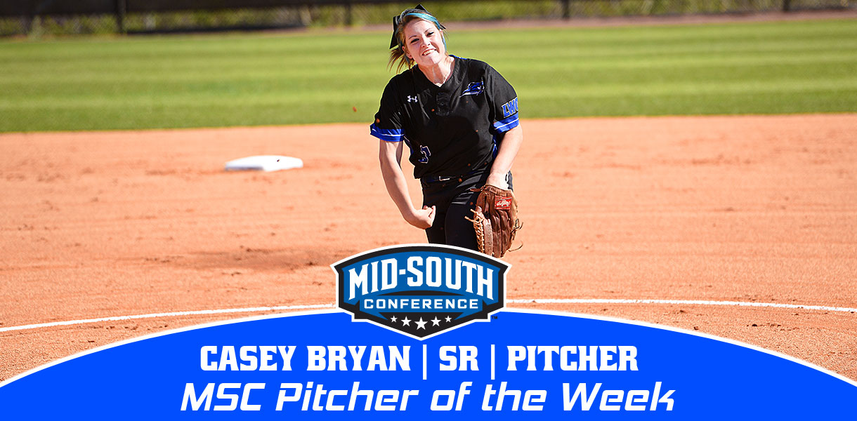 Photo for Casey Bryan collects MSC Softball Pitcher of the Week honors