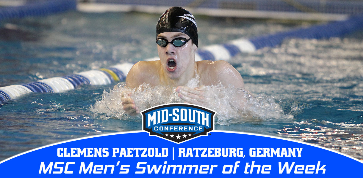 Photo for Paetzold earns third MSC Men's Swimmer of the Week honor this season