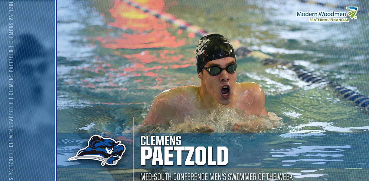 Photo for Paetzold collects Mid-South Men's Swimmer of the Week accolades
